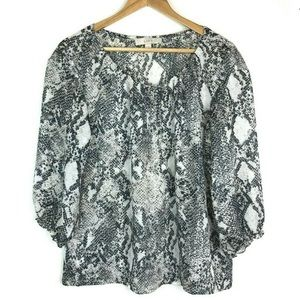 LOFT S Snake print top lace up flow my Sheer